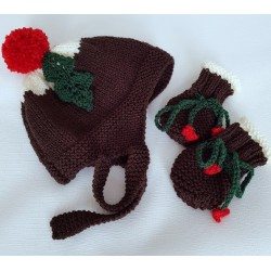 CHRISTMAS PUDDING HAT & MITTENS