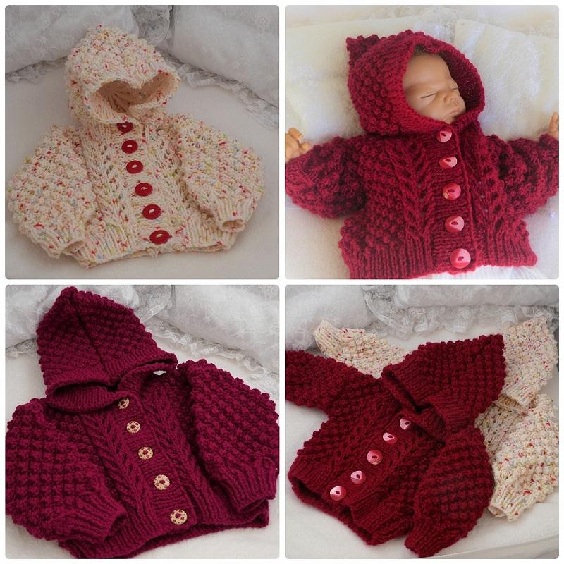 Cosy Aran Hoodie baby knitting pattern by Precious Newborn ...